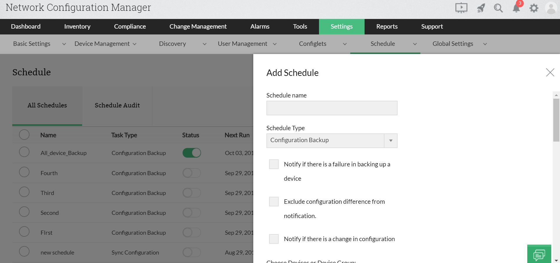 Scheduling Configuration Backup