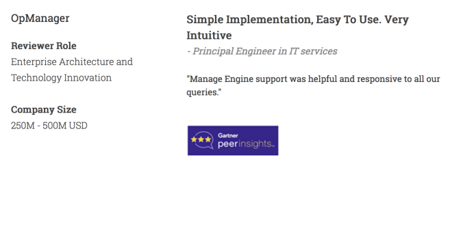 OpManager - Simple Implementation & Easy to use - Principal Engineer